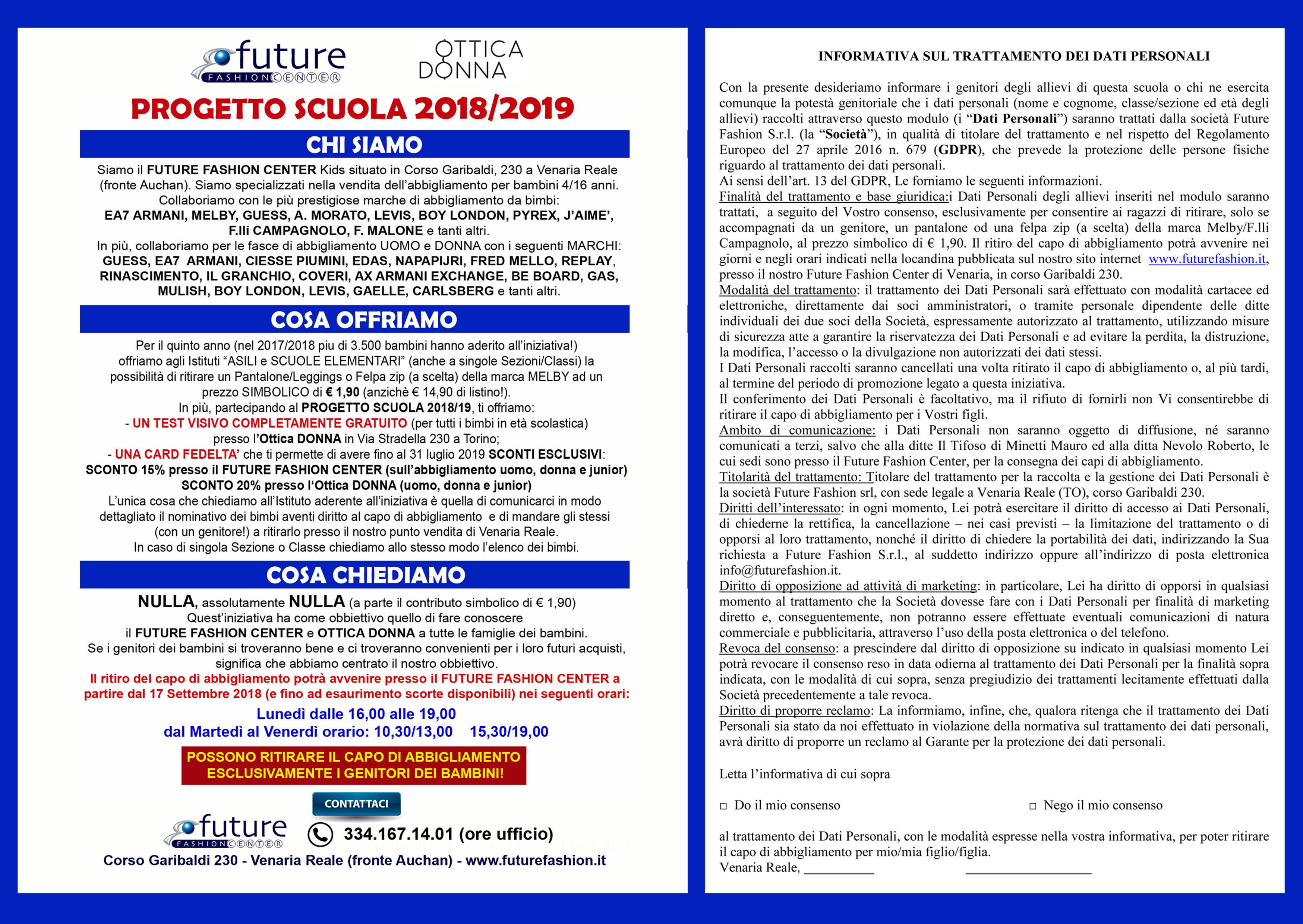 Informativa Progetto Scuola - FutureFashion